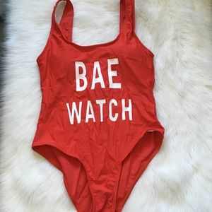 Red Bae Watch One Piece Padded Swimsuit
